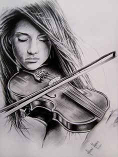 girl playing violin sketch - Google Search