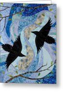 Nature Quilts Greeting Cards - Dancing With the Chinook Greeting Card by Linda Beach
