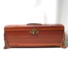 vintage 1940's cedar wood box with brass by RecycleBuyVintage, $16.00