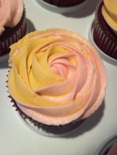 Two-toned rose cupcake.