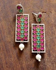 Long Victorian Earrings redgreenMAE215e
