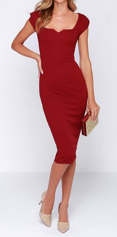 Red pencil dress