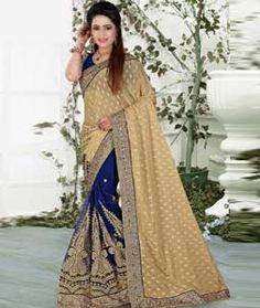 Buy Beige Lycra Half and Half Saree With Blouse 73750 with blouse online at lowest price from vast collection of sarees at Indianclothstore.com.