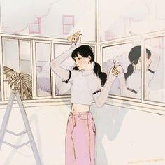 Gifs, Cute Illustration, Character Illustration, Pretty Art, Cute Art, Aesthetic Art, Aesthetic Anime, Cute Couple Art, Korean Artist