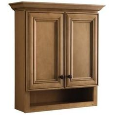 Ryerson H x W x D Golden Wall Cabinet Golden finish Crown moulding attached All-wood construction with matching interior Fully assembled and ready to install Bathroom Wall Cabinets, Bathroom Renos, Bathroom Ideas, Bath Ideas, Upstairs Bathrooms, Dream Bathrooms, Over The Toilet Cabinet, Golden Wall, Pantry Room