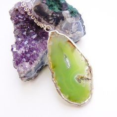 Agate Slab Necklace Green now featured on Fab.