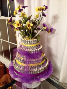 Purple and Gold Money Cake Money Birthday Cake, Money Cake, Shower Party, Baby Shower Parties, Money Creation, Cash Gifts, Gold Money, Party Ideas, Gift Ideas