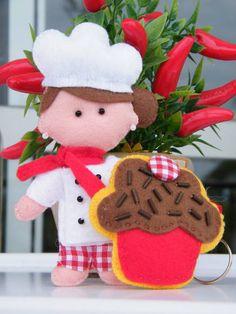 Chef confeiteira em feltro