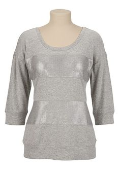 Sequin Embellished Striped Sweatshirt available at #Maurices