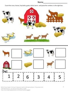 Free Farm Math Worksheets by smalltowngiggles Farm Activities, Toddler Learning Activities, Animal Activities, Kindergarten Worksheets, Farm Animal Crafts, Farm Animals, Farm Lessons, Community Helpers Preschool, Farm Unit