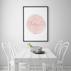 Pink Nursery Print Inspirational Art Dream Poster