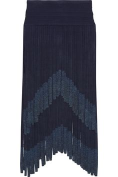 Hervé Léger | Metallic fringed bandage midi skirt | NET-A-PORTER.COMHervé Léger's navy skirt is overlaid with tiers of swishy fringing tipped with metallic threads to create a beautiful gradient effect. Its wide waistband and mini underlay are made from the label's signature figure-sculpting bandage fabric to smooth and contour your curves. Style it with the coordinating top to cocktail events.