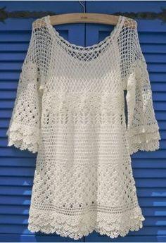 Delicadeza mão de malha vestido de crochê