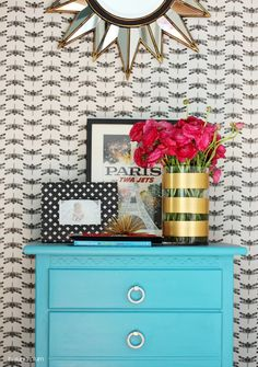 Hi Sugarplum | Don't overlook little nooks and corners. This small spot was transformed with paint, accessories from HomeGoods...and wrapping paper! #sponsored