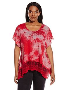 OneWorld Womens Plus Size Flutter Sleeve Americana Bling Top with Lace Hem ThunderstormRogue 1X *** To view further for this item, visit the image link.