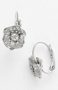 pave flower drop earrings