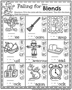 First Grade Fall Worksheets - Falling for Blends Blends Worksheets, Literacy Worksheets, First Grade Worksheets, First Grade Activities, School Worksheets, Phonics Activities, Printable Worksheets, Multiplication Activities, Toddler Worksheets