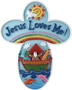 """[""""Perfect for a nursery of child's room, this Noah's Ark wall cross is cute and colorful! The bottom of the cross features Noah aboard the ark, along with several animals. A rainbow spreads above him, along with the words \""""Jesus Loves Me!\"""" Little ones will love seeing this message every day, as they begin to discover and grow in God's love.Cross measures 6-1\/2\""""(W) x 8\""""(H).""""] $9.99"""