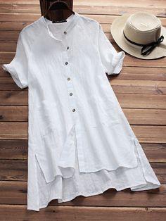 Vintage Pure Color Irregular Hem Short Sleeve Women Blouses