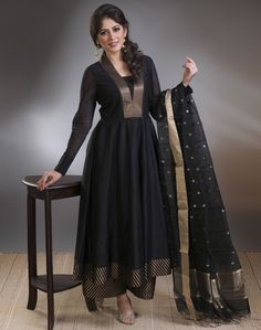 #black #brocade #bold #beautiful #evening #occasion #anarkali #flowy #silhouette #gold #pants #dressy #glam #stylish #women #fashion #Fabindia