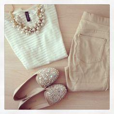 White shirt, beige pants, Sequin sparkle flats, pearls necklace
