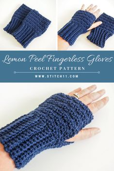 FREE CROCHET PATTERN - Lemon Peel Fingerless Gloves: It can be a challenge to stay warm in the winter especially when gloves make it hard to use our phones and function. Thats why I love fingerless gloves. CLICK THE LINK NOW! Crochet Fingerless Gloves Free Pattern, Crochet Mitts, Fingerless Mittens, Crochet Scarves, Crochet Clothes, Crochet Stitches, Free Crochet, Knit Crochet, Crochet Granny