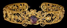 "archaicwonder: "" Greek Gold 'Pontic Aristocratic' Diadem, Late 4th-Late 3rd Century BC A gold diadem consisting of a twisted rope border with a series of heart shaped scrolls with applied acanthus leaves and flowers with gold wire detail and tear..."