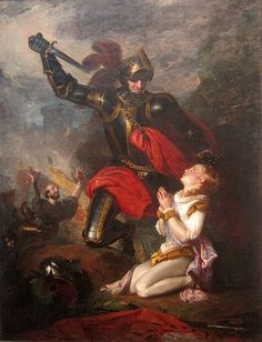 Edmund, Earl of Rutland. Shown here being killed at the age of 17 towards the end of the battle of Wakefield , during the War of the Roses. He was son of Richard of York and Cecily Neville. His brothers later became kings Edward IV and Richard III. Uk History, Tudor History, European History, British History, Family History, Lancaster, Richard Iii, Edward Iv, Wars Of The Roses