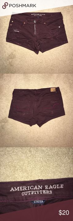 American eagle maroon ripped shortie shorts Maroon ripped shorts from American eagle. Good condition, a lot f front rips and a few back rips. Size 10 American Eagle Outfitters Shorts