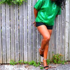 Wearing a brand new vintage green sequin blouse thrifted at an estate sale. Under $1. Little black shorts and sandals from Just Fab. | Thriftanista in the City