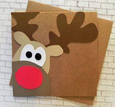 Items similar to Rudolph Christmas Card, Christmas Card set, Reindeer card, Holiday Card, Handmade Christmas Card on Etsy Rudolph Christmas, Christmas Card Crafts, Homemade Christmas Cards, Handmade Christmas Gifts, Xmas Cards, Kids Christmas, Holiday Cards, Christmas Decorations, Diy Weihnachten