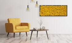 """Ein wunderschön, frisches Moosbild in """"Fall Yellow"""" kompletiert den Lesebereich und schafft eine gemütliche Atmosphäre. Table, Furniture, Home Decor, Products, Sunflowers, Wood Frames, Wall Canvas, Homes, Nice Asses"""