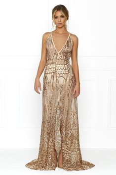 Honey Couture SIENA Rose Gold Sheer Sequin w Split Evening Gown Dress