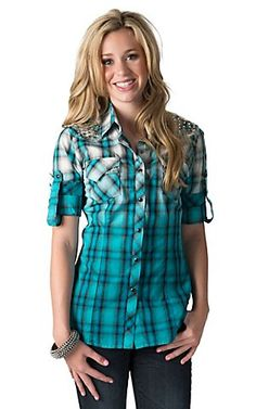 Rock & Roll Cowgirl Women's Turquoise Ombre Plaid with Nailheads Long to 3/4 Sleeves Western Shirt | Cavender's