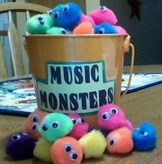 Music Monsters - each student grabs one on their way in the room. Take it away if they are not meeting expectations. Students who still have their monsters at the end get something special (stamp? sticker?)