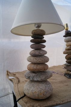 River rock cairn lamp- cool