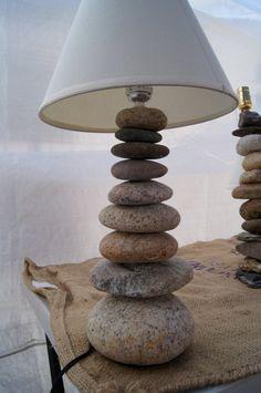 River rock cairn lamp- cool