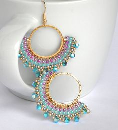 Turquoise earrings dangle, Turquoise and pink earrings, Turquoise and gold earrings, Fan earrings, Boho chic jewelry - Ohrringe Pink Earrings, Seed Bead Earrings, Turquoise Earrings, Etsy Earrings, Beaded Earrings, Beaded Jewelry, Handmade Jewelry, Pink Turquoise, Etsy Jewelry