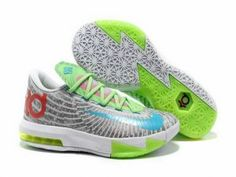 new product 92111 affb0 Nike Zoom KD 6 White Grey Green Red Blue Shoes for sale. The cool colorway