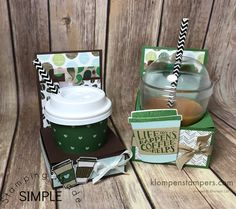 Instructions for mini coffee cup gift card holder using Stampin' Up! Coffee Break Designer Series Paper Card tutorials, craft tips, and Stampin' Up products Mini Coffee Cups, Coffee Cup Holder, Coffee Cup Crafts, Coffee Gifts, Coffee Candle, Coffee Mugs, How To Order Coffee, Utila, Treat Holder