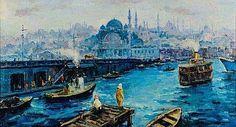 IBRAHIM SAFI (1898-1983) Vue du port de Galata Huile sur toile. Signée en bas à droite. H_60 cm L_110 cm
