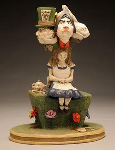 Alice Dreaming - Ceramic - Sara E. Morales  #aliceinwonderland #art #ceramic #scultpure