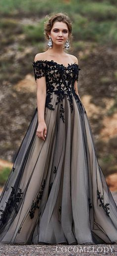 Black Champagne colored wedding dress by CocoMelody unique vintage off the shoulder lace ball gown wedding dress with tulle princess skirt See more gorgeous wedding dre. Champagne Colored Wedding Dresses, Black Wedding Gowns, Gorgeous Wedding Dress, Best Wedding Dresses, Beautiful Gowns, Gown Wedding, Tulle Wedding, Unique Colored Wedding Dresses, Dream Wedding