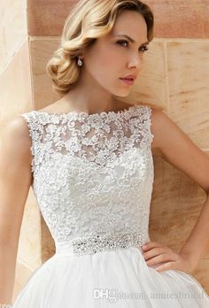 Wholesale Vintage white ivory organza short Wedding Dresses 2015 sheer bateau applique lace beads sash backless button little white dress bridal gowns, Free shipping, $122.35/Piece   DHgate Mobile