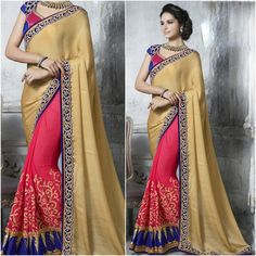 Light Red with Cream Peach Designer Saree with Blouse Product Number:NRNS-MDR8813