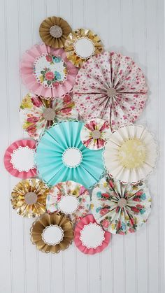 Antique Vintage Floral and Doily Party Paper Pinwheel Fan Rosettes, Tea Party, First Birthday, Photography Backdrop, Smash Cake Decorations by eventprint on Etsy
