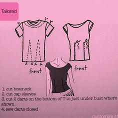 T-shirt refashion - yet another way to redo some over-sized t-shirts into something more fitted and flattering. I need to learn to sew. Sewing Hacks, Sewing Tutorials, Sewing Crafts, Sewing Projects, Sewing Patterns, Sewing Tips, Fun Projects, Diy Clothing, Sewing Clothes