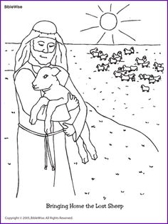 Jesus And The Lost Sheep Coloring Page