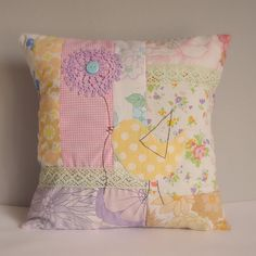 Cushion slip patchwork with bird vintage fabric by roxycreations, $23.50