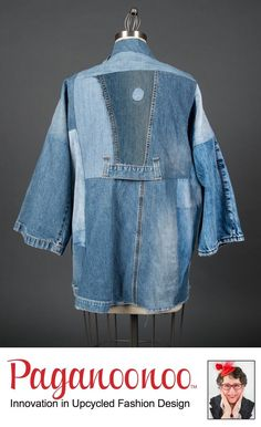 """Sewing Pattern unisex """"BORO Style Jean Jacket"""" by Paganoonoo. Recycle denim jeans into timeless kimono shaped jean jacket. Gilet Kimono, Jackett, Jacket Pattern, Boro, Kimono Fashion, Jeans Style, Denim Jeans, Boyfriend Jeans, Indigo"""